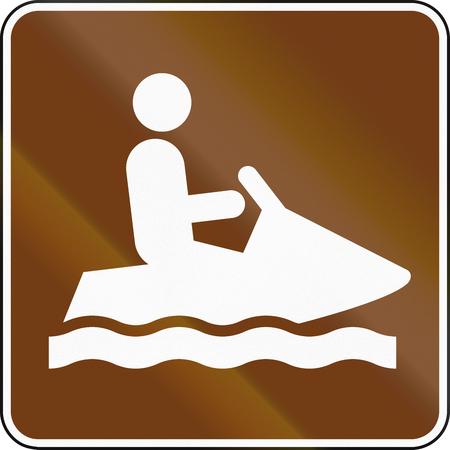 personal watercraft: United States MUTCD guide road sign - Jet Ski. Stock Photo