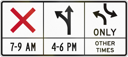 dependent: United States MUTCD road sign - Time dependent lane usage.
