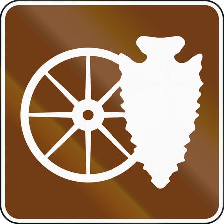 cartwheel: United States MUTCD guide road sign - Cultural interest area.