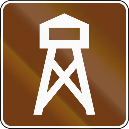 on the lookout: United States MUTCD guide road sign - Lookout tower.