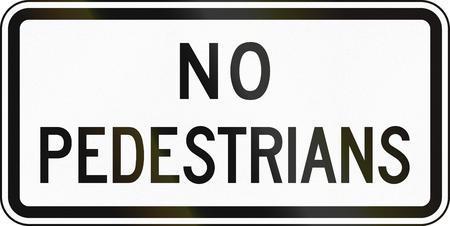 pedestrians: United States MUTCD road sign - No pedestrians. Stock Photo