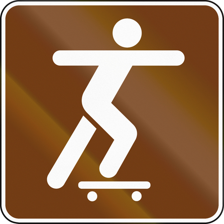 skatepark: United States MUTCD guide road sign - Skate-park. Stock Photo