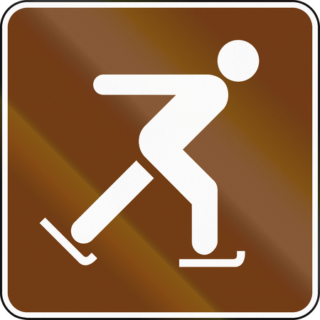 iceskating: United States MUTCD guide road sign - Ice-skating. Stock Photo