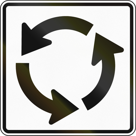 counterclockwise: United States MUTCD road sign - Roundabout.