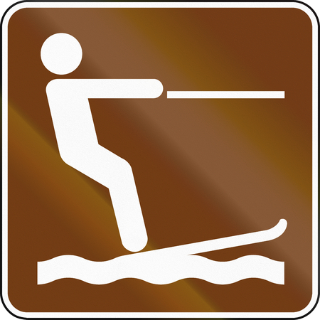 water skiing: United States MUTCD guide road sign - Water skiing.