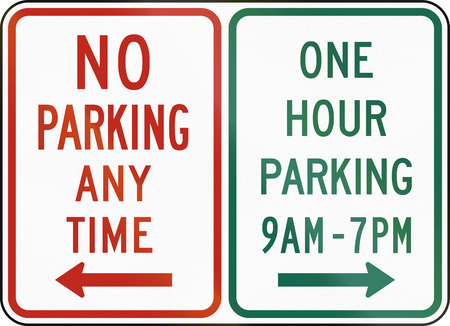 no  parking: United States MUTCD regulatory road sign - No parking and on hour parking. Stock Photo
