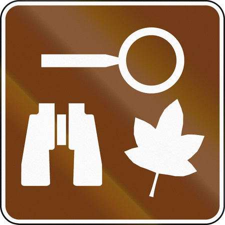 area: United States MUTCD guide road sign - Nature study area. Stock Photo