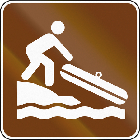 lug: United States MUTCD guide road sign - Small boat launch.