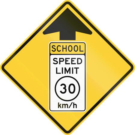 speed limit: United States MUTCD school zone road warning sign - Speed limit ahead.