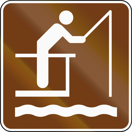 fishing pier: United States MUTCD guide road sign - Fishing pier. Stock Photo