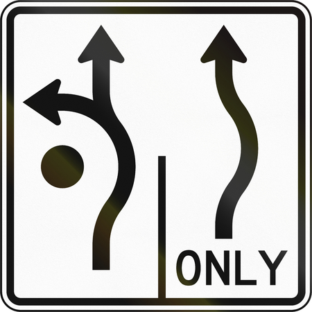 turns: United States MUTCD road sign - Allowed turns on lanes.