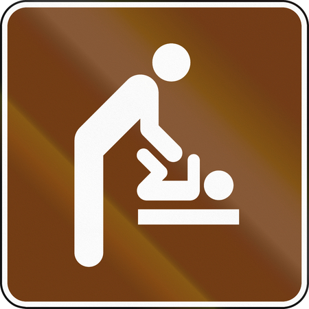 diaper changing table: United States MUTCD guide road sign - Baby Changing Station. Stock Photo