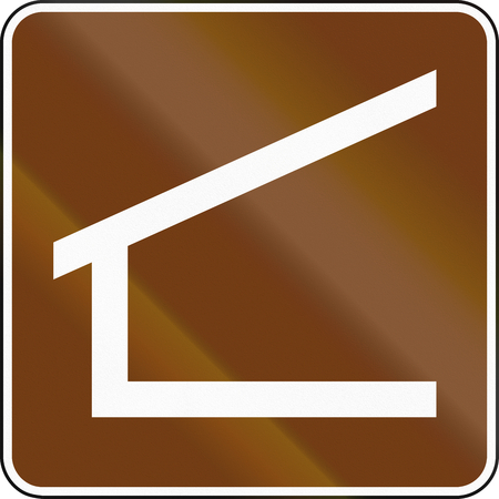 informational: United States MUTCD guide road sign - Trail Shelter. Stock Photo