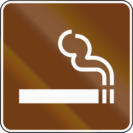 fume: United States MUTCD guide road sign - Smokers area. Stock Photo