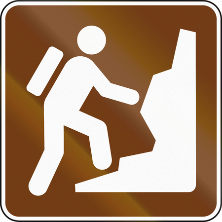 mountaineering: United States MUTCD guide road sign - Mountaineering. Stock Photo