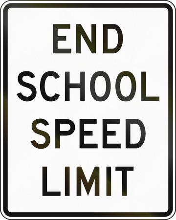speed limit: United States MUTCD road sign - End school speed limit.