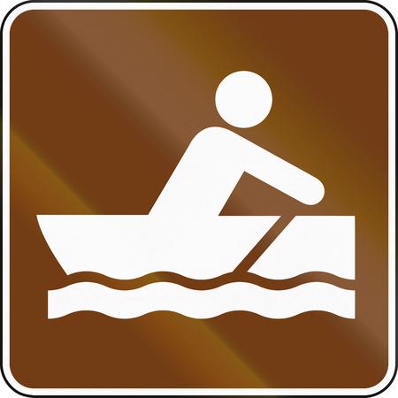 rowboat: United States MUTCD guide road sign - Rowboat. Stock Photo
