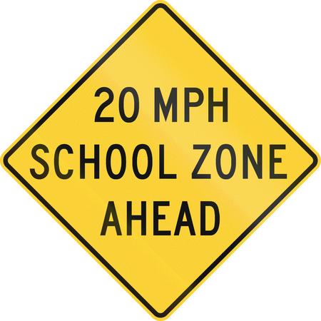 road warning sign: United States MUTCD school zone road warning sign - Speed limit ahead.