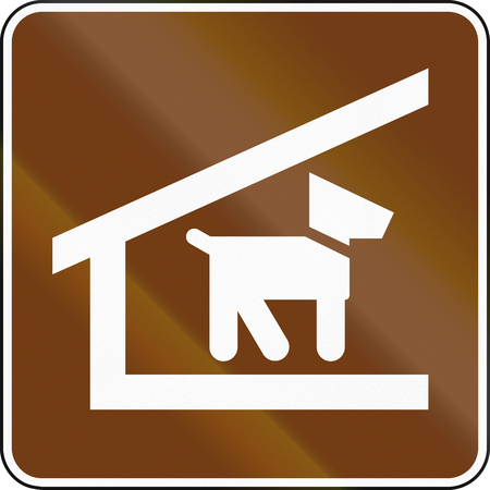 dog allowed: United States MUTCD guide road sign - Trail shelter with dogs allowed.