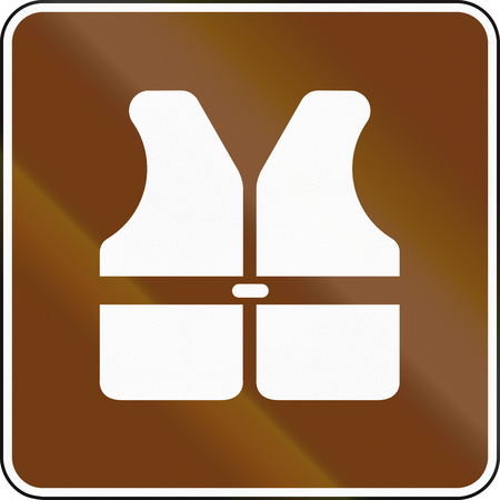 reflection of life: United States MUTCD guide road sign - Life vest. Stock Photo