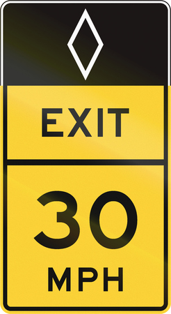 speed limit: United States MUTCD road sign - Exit with advisory speed limit.