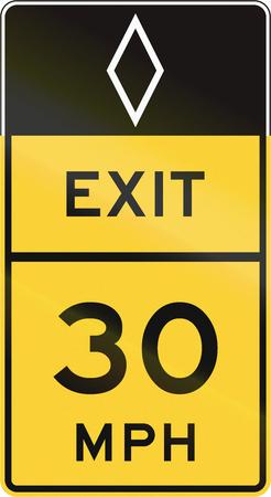 advisory: United States MUTCD road sign - Exit with advisory speed limit.
