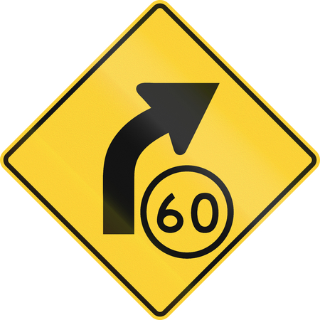 curve road: United States MUTCD road sign - Curve with advisory speed limit. Stock Photo