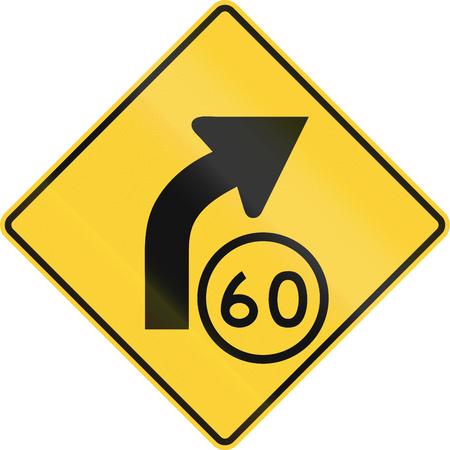 advisory: United States MUTCD road sign - Curve with advisory speed limit. Stock Photo