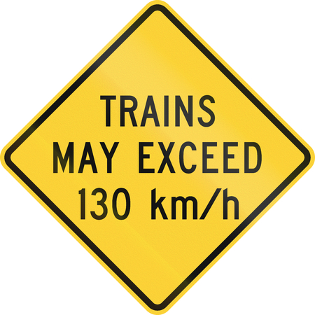 exceed: United States MUTCD warning road sign - Trains may exceed 130 kmh. Stock Photo