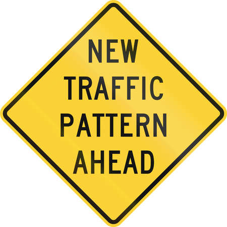 danger ahead: United States MUTCD road sign - New traffic pattern ahead. Stock Photo