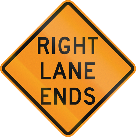 lane: United States MUTCD road sign - Right lane ends.