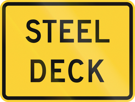 slippery warning sign: United States MUTCD road sign - Steel deck. Stock Photo