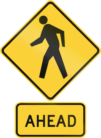 danger ahead: United States MUTCD road warning sign assembly. Stock Photo