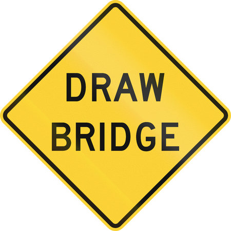 movable bridge: United States MUTCD warning road sign - Draw bridge. Stock Photo