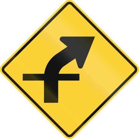 intersection: United States MUTCD warning road sign - Intersection in curve. Stock Photo
