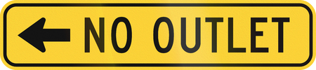 auxiliary: United States MUTCD warning road sign - No outlet. Stock Photo