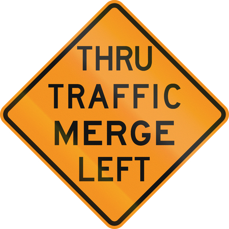 merge: Temporary United States MUTCD road sign - Thru traffic merge left. Stock Photo
