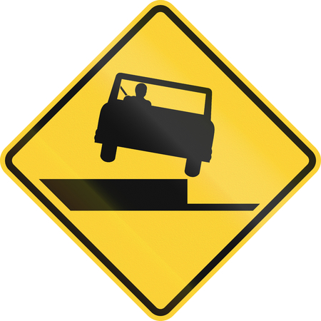 drop off: United States MUTCD road sign - Shoulder drop off.