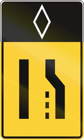 narrows: United States MUTCD road sign - Merge lane.
