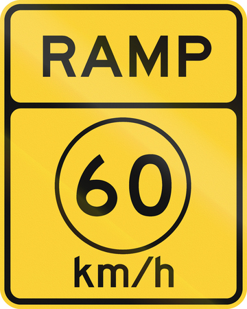 ramp: United States MUTCD road sign - Ramp with advisory speed limit.