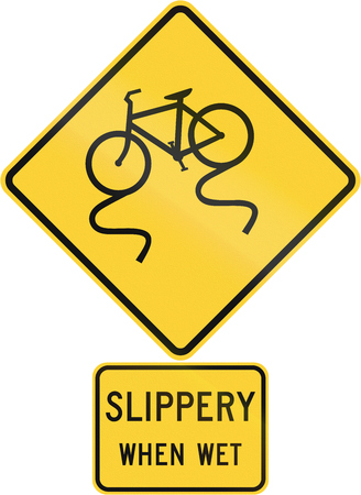 skid: United States MUTCD road warning sign assembly. Stock Photo