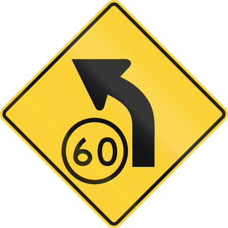 speed limit: United States MUTCD road sign - Curve with advisory speed limit. Stock Photo