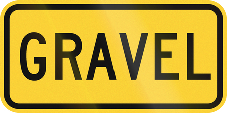 chippings: United States MUTCD warning road sign - Gravel. Stock Photo