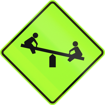see saw: United States MUTCD warning road sign - Playground.