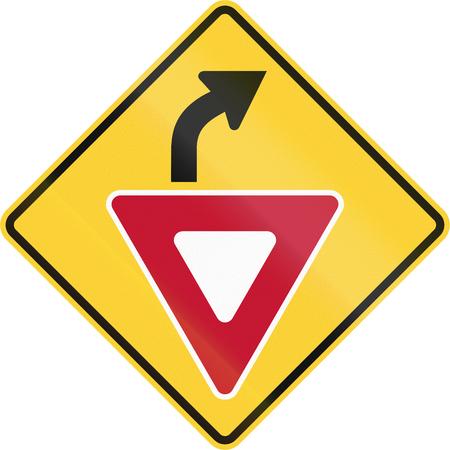 미국 MUTCD가 아닌 도로 표지판 - 앞서 수확량. 스톡 콘텐츠