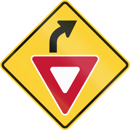 compliant: United States non-MUTCD-compliant road sign - Yield ahead.