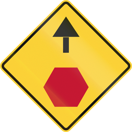 ahead: United States non-MUTCD-compliant road sign - Stop ahead.