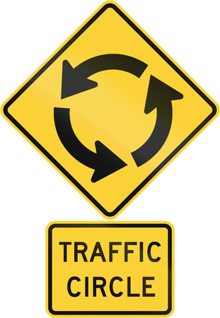 caution sign: United States MUTCD road warning sign assembly. Stock Photo