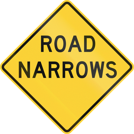 quadratic: United States MUTCD road sign - Road narrows. Stock Photo