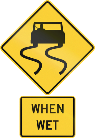 skidmarks: United States MUTCD road warning sign assembly. Stock Photo